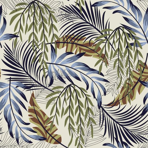 Abstract helder naadloos patroon met kleurrijke tropische bladeren en installaties Premium Vector