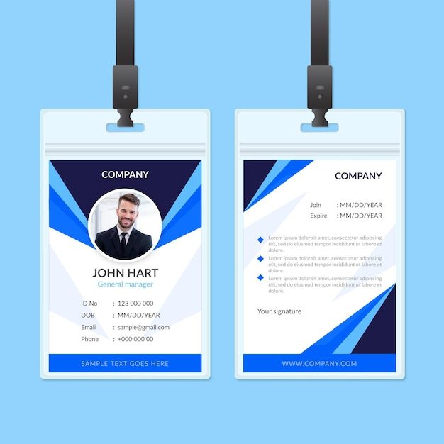 Abstract identiteitskaart-ontwerp Gratis Vector