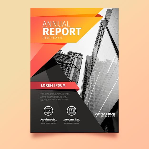 Abstract jaarverslag sjabloonontwerp met foto Gratis Vector