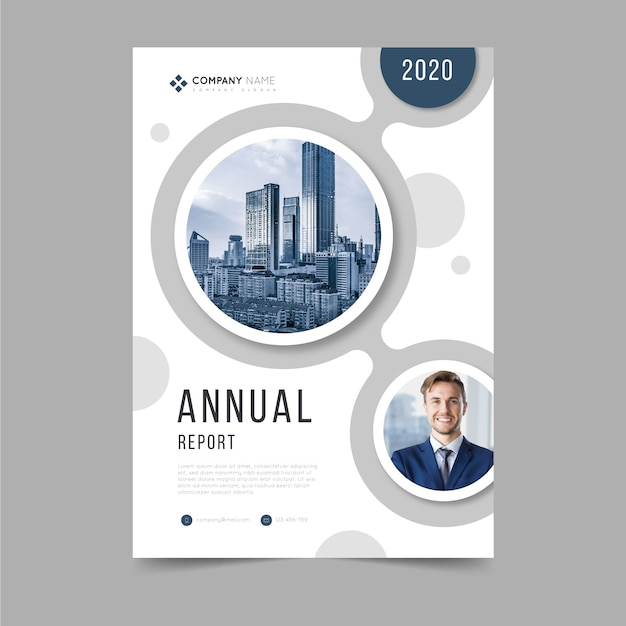 Abstract jaarverslagmalplaatje met foto Premium Vector
