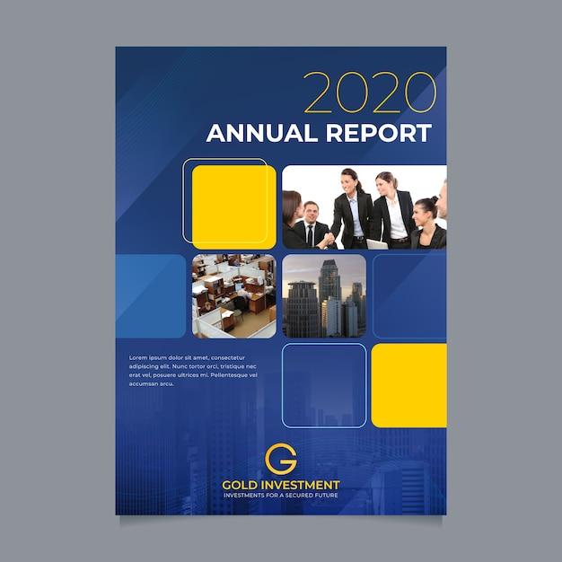Abstract jaarverslagmalplaatje met foto Gratis Vector