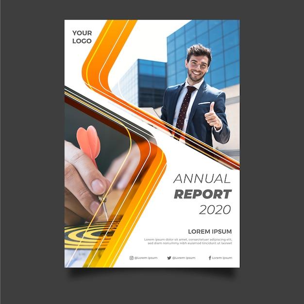 Abstract jaarverslagmalplaatje met jonge zakenman Gratis Vector