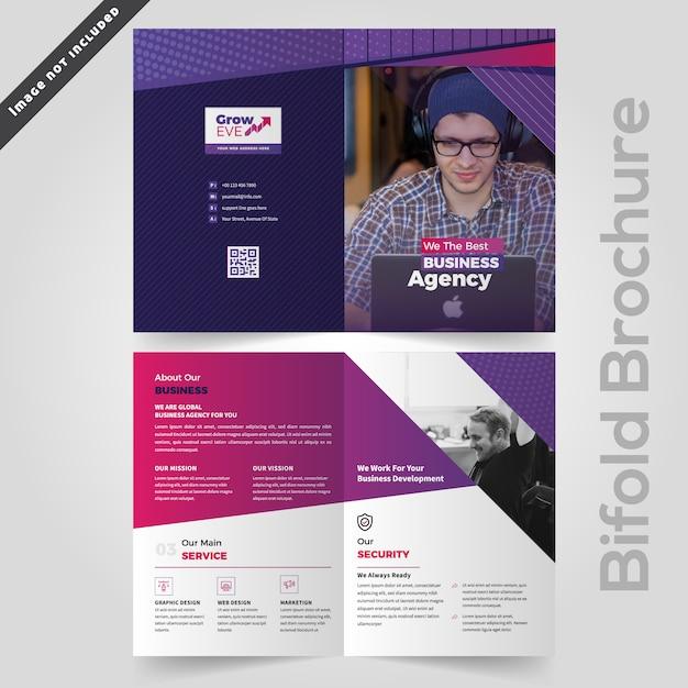 Abstract kleurrijk business bifold brochureontwerp Premium Vector