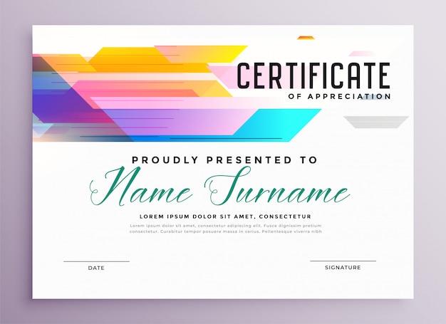 Abstract kleurrijk multifunctioneel certificaatsjabloon in geometrische stijl Gratis Vector