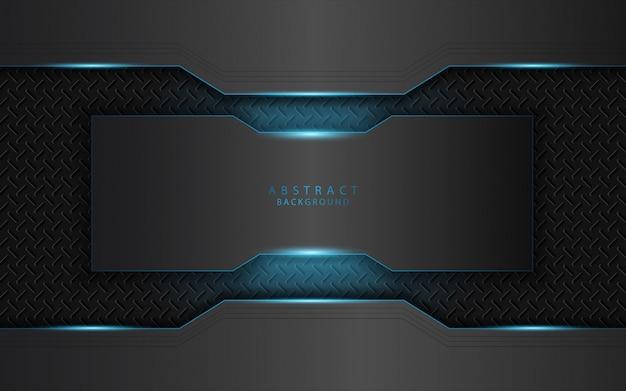 Abstract lichtblauw op de donkere achtergrond van metaalvormen Premium Vector