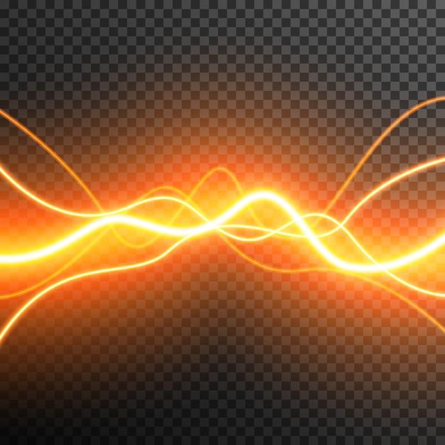 Abstract lichteffect gloeiende golven vector transparant Premium Vector