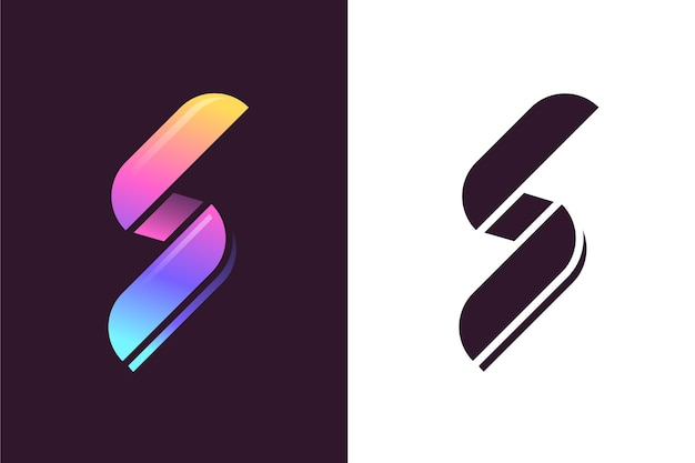 Abstract logo in twee versies Gratis Vector