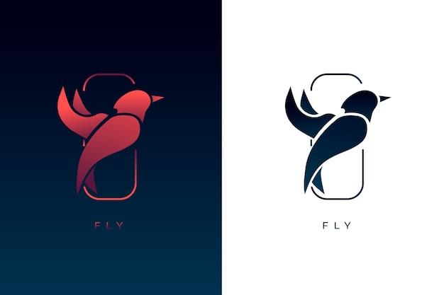 Abstract logo in twee versies Gratis Vector