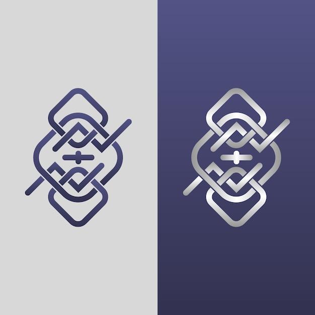 Abstract logo in twee versiesjabloon Gratis Vector