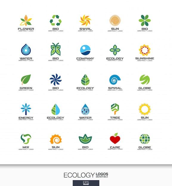 Abstract logo set voor bedrijf. huisstijlelementen. , ecologie plant, bio natuur, boom, bloem concepten. milieu, groen, recycle logo collectie. kleurrijke pictogrammen Premium Vector