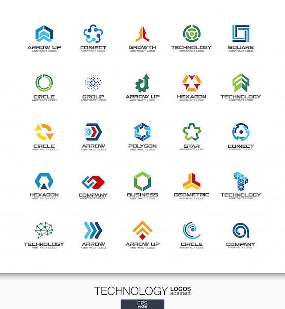 Abstract logo set voor bedrijf. huisstijlelementen. technologie, social media, internet en netwerkconcepten. digital connect logo collectie. kleurrijke pictogrammen Premium Vector