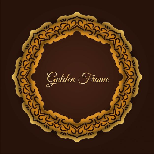 Abstract luxe gouden frame Gratis Vector