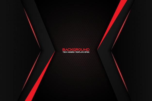 Abstract metaal rood zwart achtergrond modern technologie-ontwerp Premium Vector