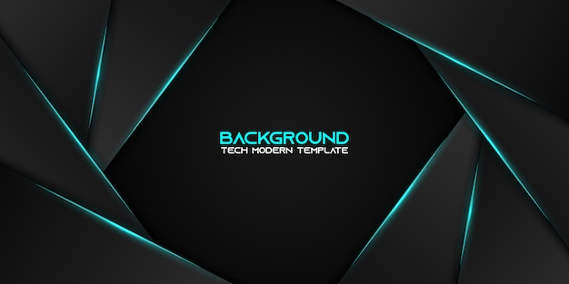 Abstract metallic blauw zwart frame moderne technologie ontwerpsjabloon Premium Vector