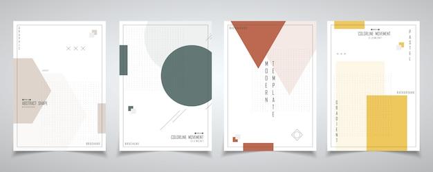 Abstract minimaal ontwerp van geometrie met halftoon ontwerpset brochure. Premium Vector