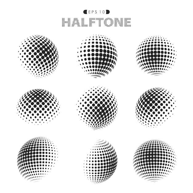 Abstract modern halftone zwart-wit puntenpatroon. Premium Vector