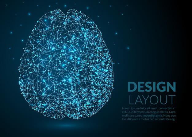 Abstract molecular brain template design Gratis Vector