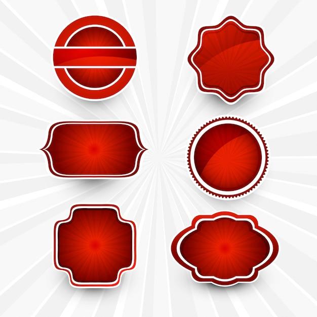 Abstract mooi rood lables vastgesteld ontwerp Gratis Vector