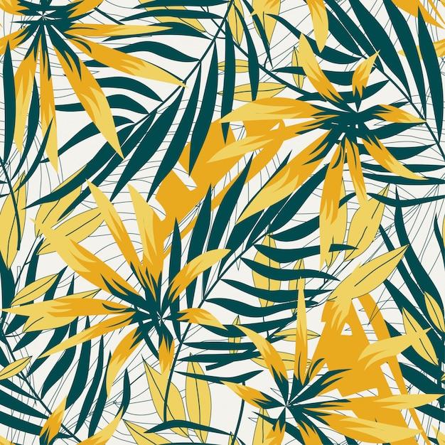 Abstract naadloos patroon met heldere tropische bladeren en planten Premium Vector