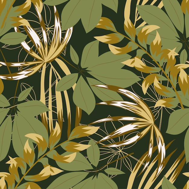 Abstract naadloos patroon met kleurrijke tropische bladeren en bloemen op gree Premium Vector