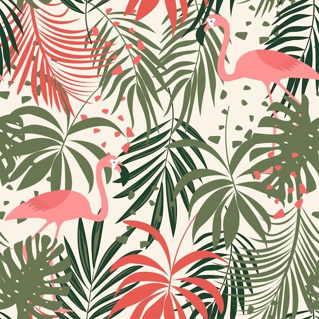 Abstract naadloos patroon met kleurrijke tropische bladeren en flamingo's op pastelkleur Premium Vector