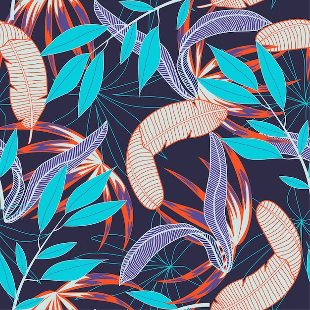 Abstract naadloos patroon met kleurrijke tropische bladeren en installaties op purple Premium Vector