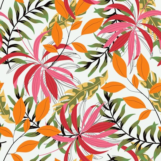 Abstract naadloos patroon met kleurrijke tropische bladeren en installaties Premium Vector