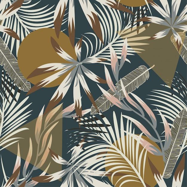 Abstract naadloos tropisch patroon met heldere bladeren en installaties Premium Vector