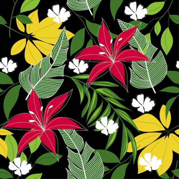 Abstract naadloos tropisch patroon met kleurrijke bladeren, installaties en bloemen Premium Vector