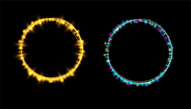 Abstract neon gloeiend lichteffect bij transparant Premium Vector