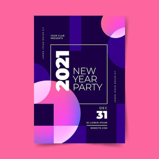 Abstract nieuwjaar 2021 partij poster sjabloon Gratis Vector