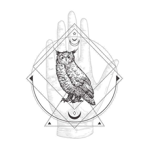 Abstract occult symbool, vintage stijllogo of tatoeage Premium Vector