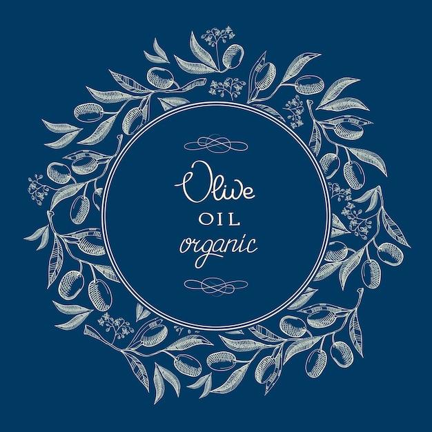 Abstract oil olive blue vintage label Gratis Vector