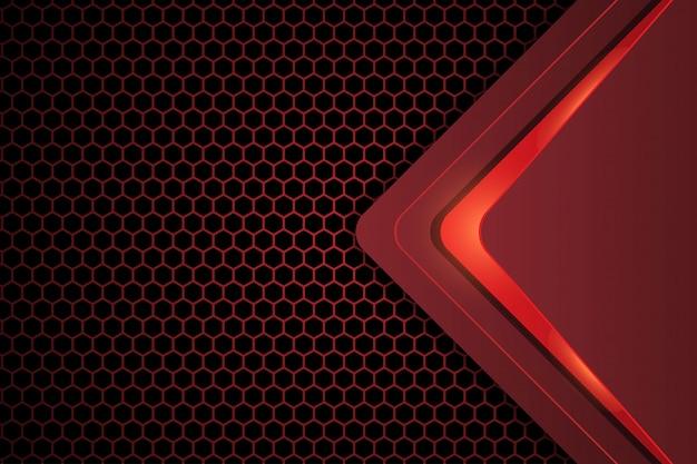Abstract ontwerp op donkerrode zeshoek achtergrond Premium Vector