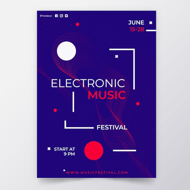 Abstract ontwerp partij poster Gratis Vector