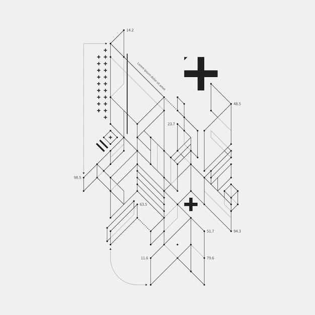 Abstract ontwerpelement in ontwerpstijl op witte achtergrond. handig voor technoprints en posters. Premium Vector