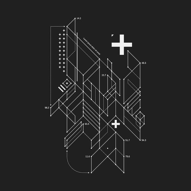 Abstract ontwerpelement in ontwerpstijl op zwarte achtergrond. handig voor technoprints en posters. Premium Vector