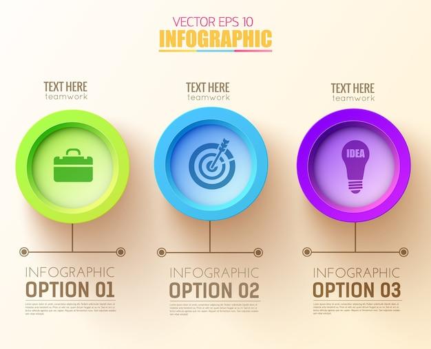 Abstract opties infographic concept met drie kleurrijke cirkels en bedrijfspictogrammen Gratis Vector
