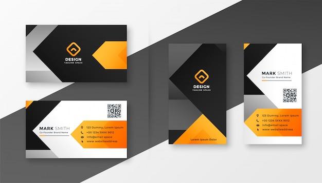 Abstract oranje thema visitekaartje ontwerp Gratis Vector