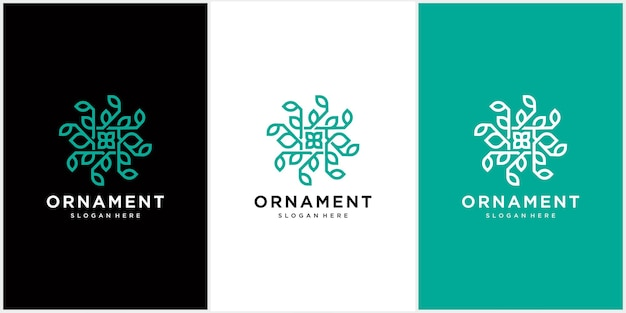 Abstract ornament logo pictogram vector blad ornament Premium Vector