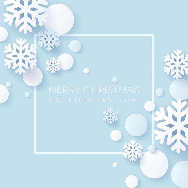 Abstract papercraft sneeuwvlokken kerstmis achtergrond. Premium Vector