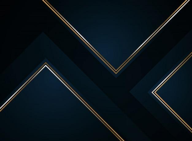 Abstract papier gesneden gradiënt donkerblauw met goud. Premium Vector
