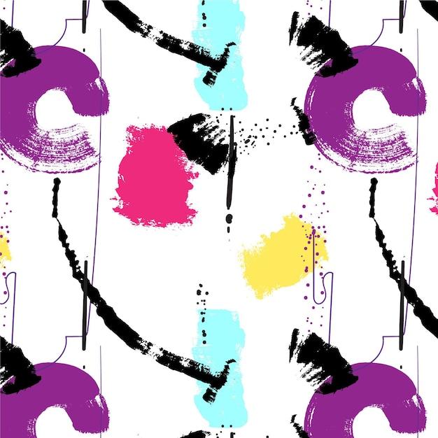 Abstract penseelstreek paars en roze verf patroon Gratis Vector