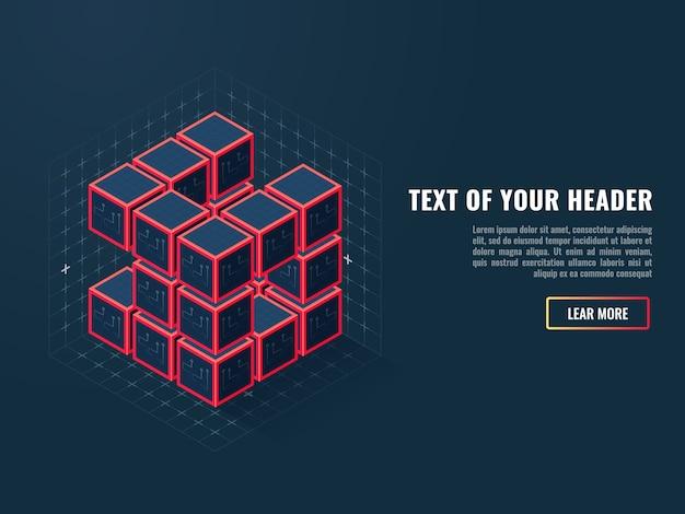 Abstract pictogram van digitale kubussen, concept van compilatie van een softwareproduct Gratis Vector