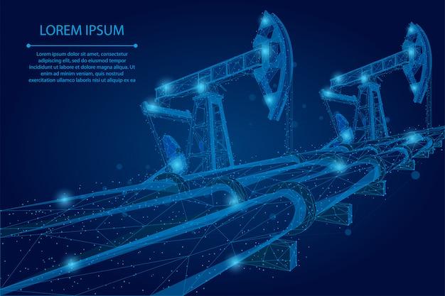 Abstract puree lijn en punt oliepijpleiding laag poly bedrijfsconcept. veelhoekige benzineproductie. vervoer van aardoliebrandstoffen Premium Vector