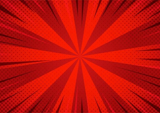 Abstract rood grappig halftone gezoempatroon van de beeldverhaalstijl. Premium Vector