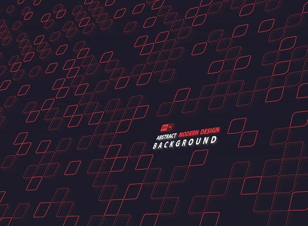Abstract rood vierkant van technologieontwerp op donkere achtergrond. Premium Vector