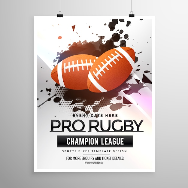 abstract rugby sport flyer ontwerpen met grunge effect Gratis Vector