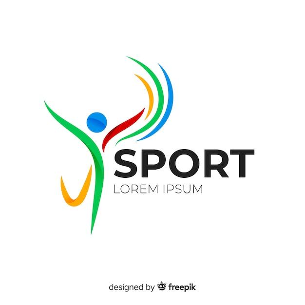 Abstract silhouet sport logo plat ontwerp Premium Vector