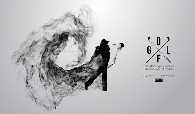 Abstract silhouet van een golfspelerillustratie Premium Vector